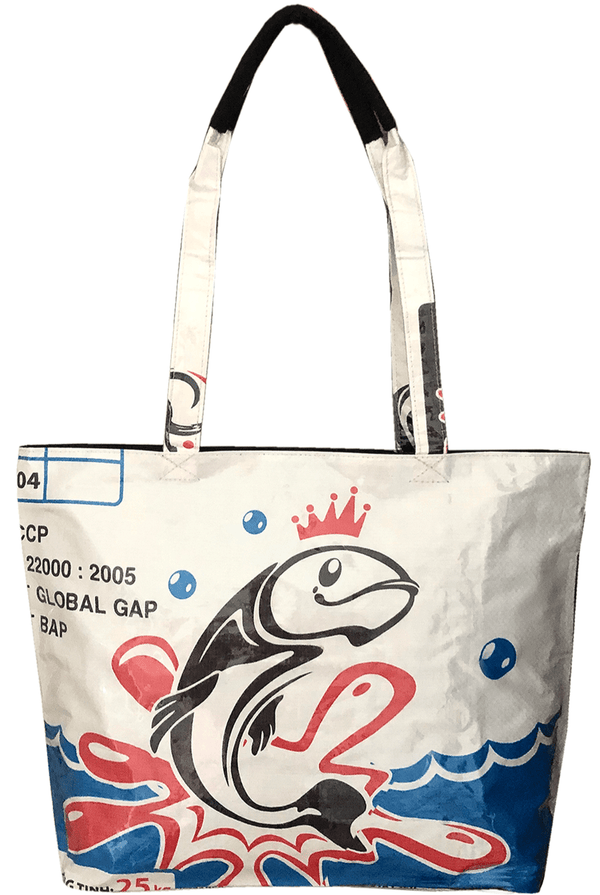 shoulder bag made from ucycled fish feed with recycled plastic