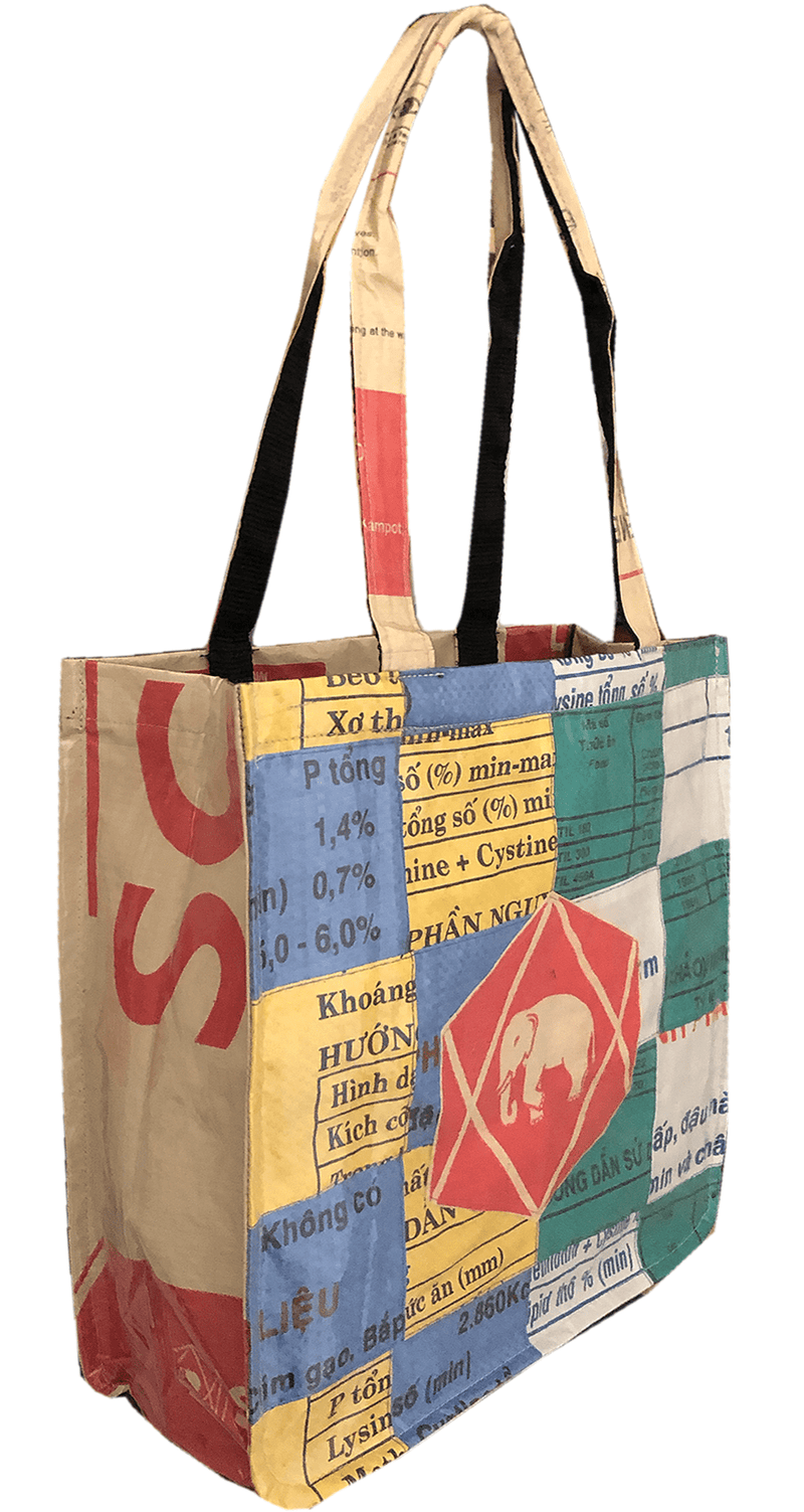 Small multicolour recycled material shoulder tote bag with elephant - uppybags