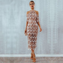 Load image into Gallery viewer, Sequined Tassel Midi Dress