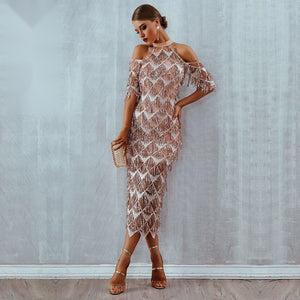 Sequined Tassel Midi Dress