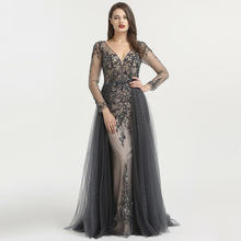 Load image into Gallery viewer, Beaded V Neck Evening Dress