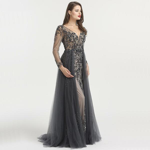 Beaded V Neck Evening Dress