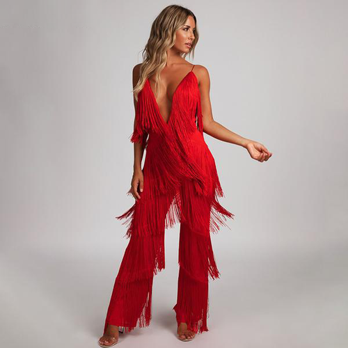 Backless Tassel Jumpsuit