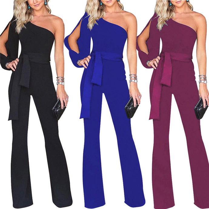 One Shoulder Basic Jumpsuit