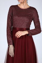 Load image into Gallery viewer, Claret Red Evening Dress