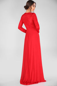 Lace Embroidered Red Evening Dress