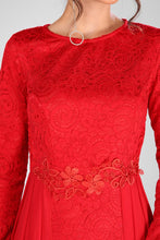 Load image into Gallery viewer, Lace Embroidered Red Evening Dress
