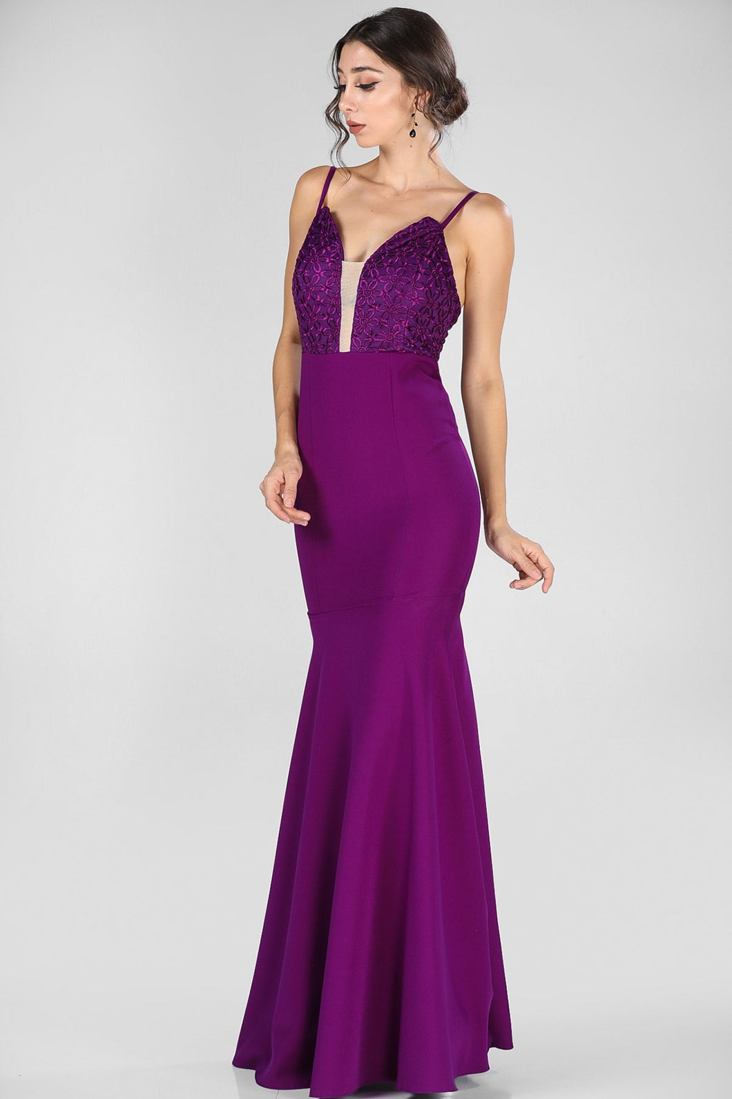 Purple Patterned Evening Dress