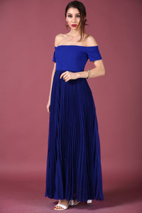 Pleated Saxe Evening Dress