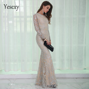 ADD Long Sleeves Shiny Dress