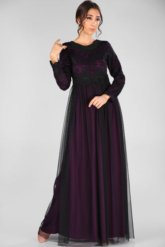 Beaded Collar Purple-Black Evening Dress