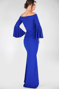 Ruffle Sleeves Saxe Evening Dress