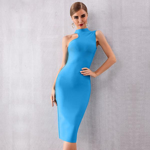Asymmetrical Neck Line Dress