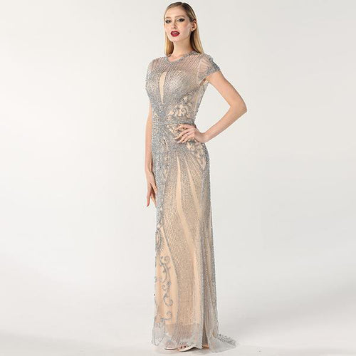 A Line Beaded Evening Dress
