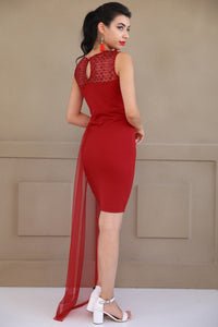 Sequin Embroidered Red Dress