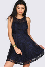 Load image into Gallery viewer, Lace Detailed Navy Blue Dress