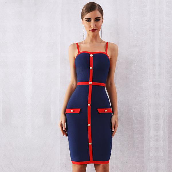 Blue Red Buttoned Dress