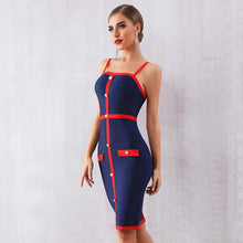 Load image into Gallery viewer, Blue Red Buttoned Dress