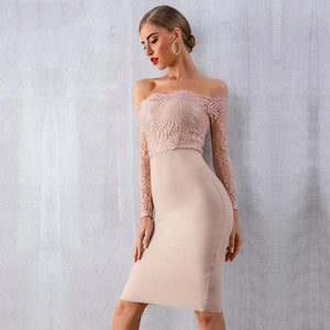Nude Lace Long Sleeves