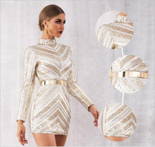 Load image into Gallery viewer, Striped Gold and Apricot Dress