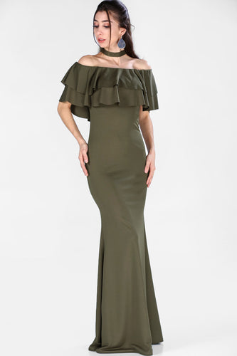 Boat Neck Khaki Evening Dress
