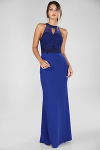 Open Chest Silvery Saxe Evening Dress