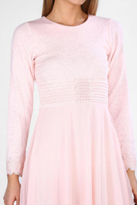 Guipure Sleeves Powder Rose Dress