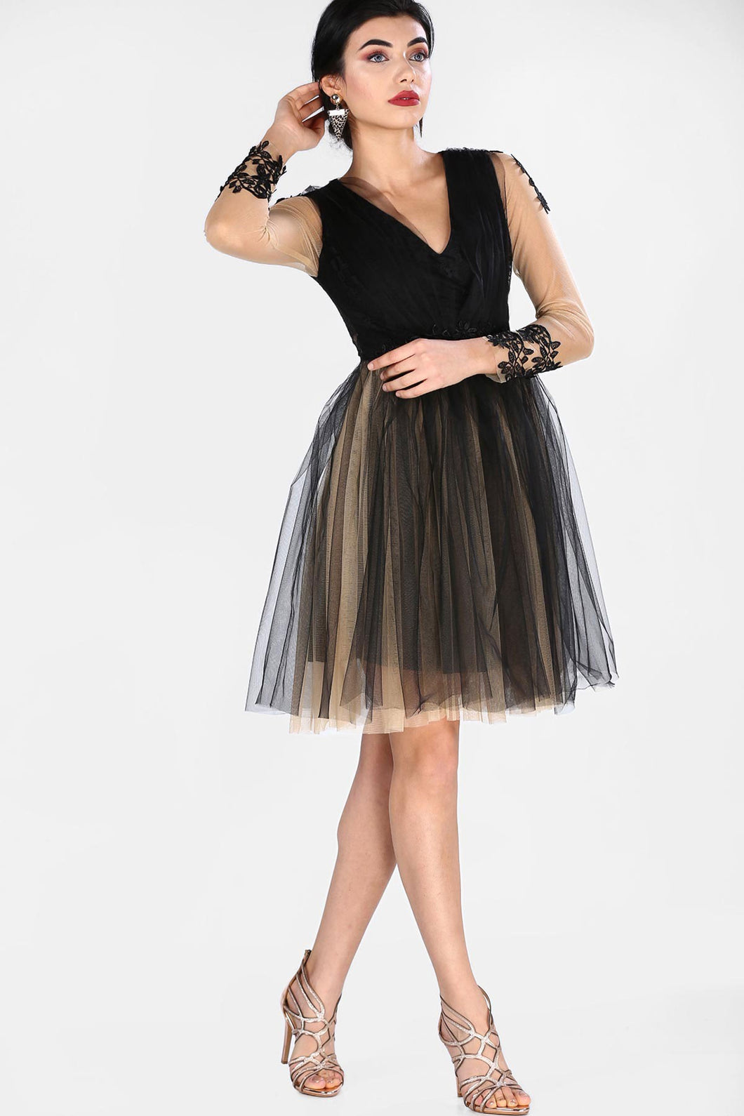 Tulle Detail Black Dress