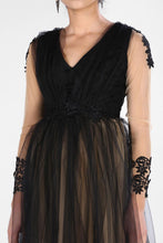 Load image into Gallery viewer, Tulle Detail Black Dress