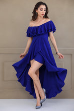 Load image into Gallery viewer, Boat Neck Blue Dress