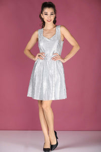 Buttoned Back Silvery Grey Short Dress