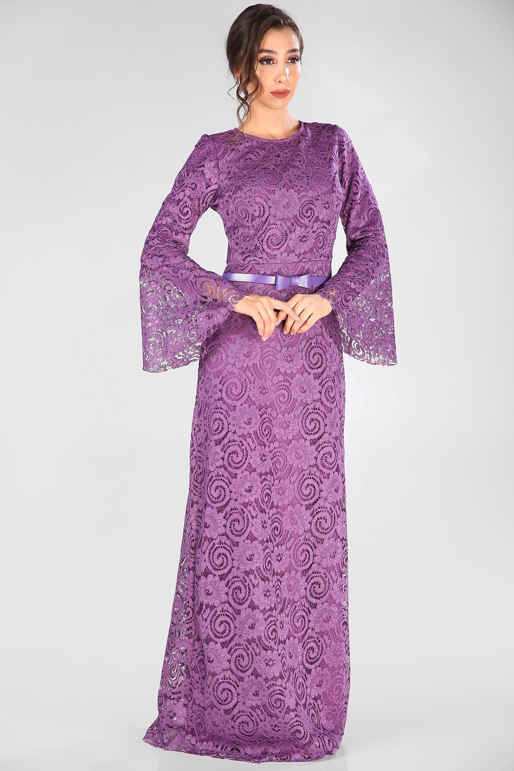 Belted Purple Lace Evening Dress