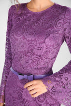 Load image into Gallery viewer, Belted Purple Lace Evening Dress