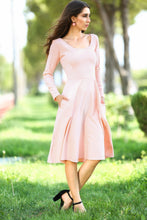 Load image into Gallery viewer, Oval Neck Powder Rose Midi Size Dress