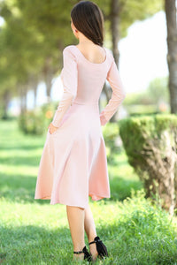 Oval Neck Powder Rose Midi Size Dress