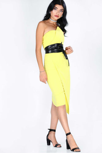 Back Zipped Yellow Dress