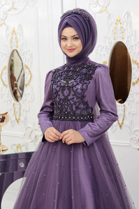 Embroidered Purple Evening Dress