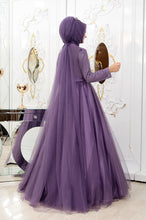 Load image into Gallery viewer, Embroidered Purple Evening Dress