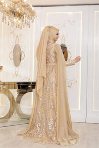 Gold Patterned Evening Dress
