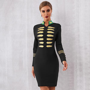 Black Gold Embroidered Dress
