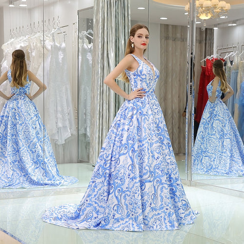 Blue & White Evening Gown