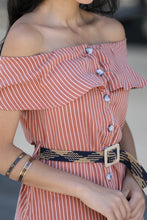 Load image into Gallery viewer, Boat Neck Striped Dress