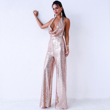 Load image into Gallery viewer, Backless Sequin Jumpsuit