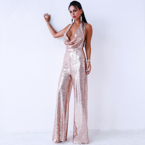 Backless Sequin Jumpsuit