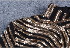Glitter Golden Turtleneck Dress