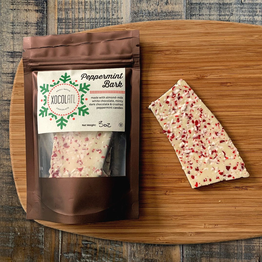 vegan peppermint bark made from craft chocolate and almond milk
