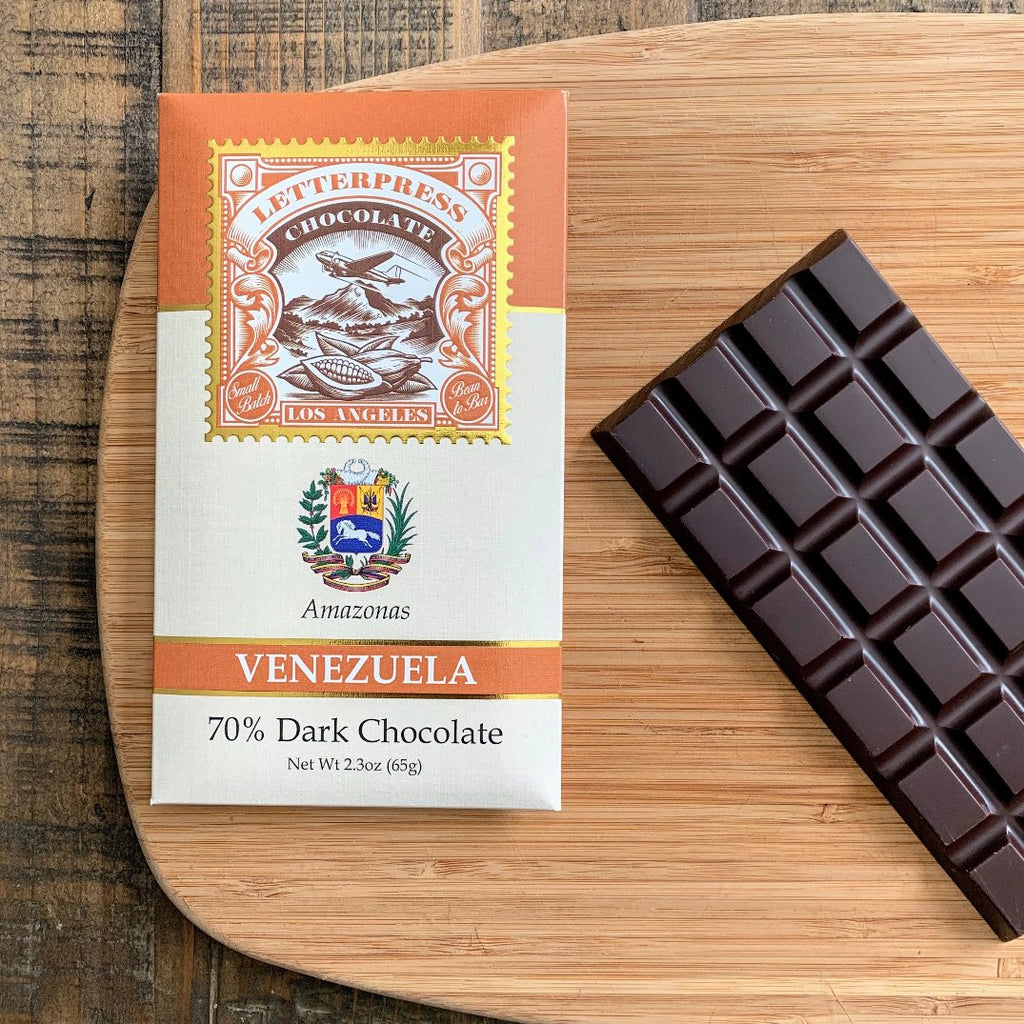 Craft Chocolate bar by LetterPress Chocolate made with beans from Venezuela.  The packaging features the crest of Venezuela.