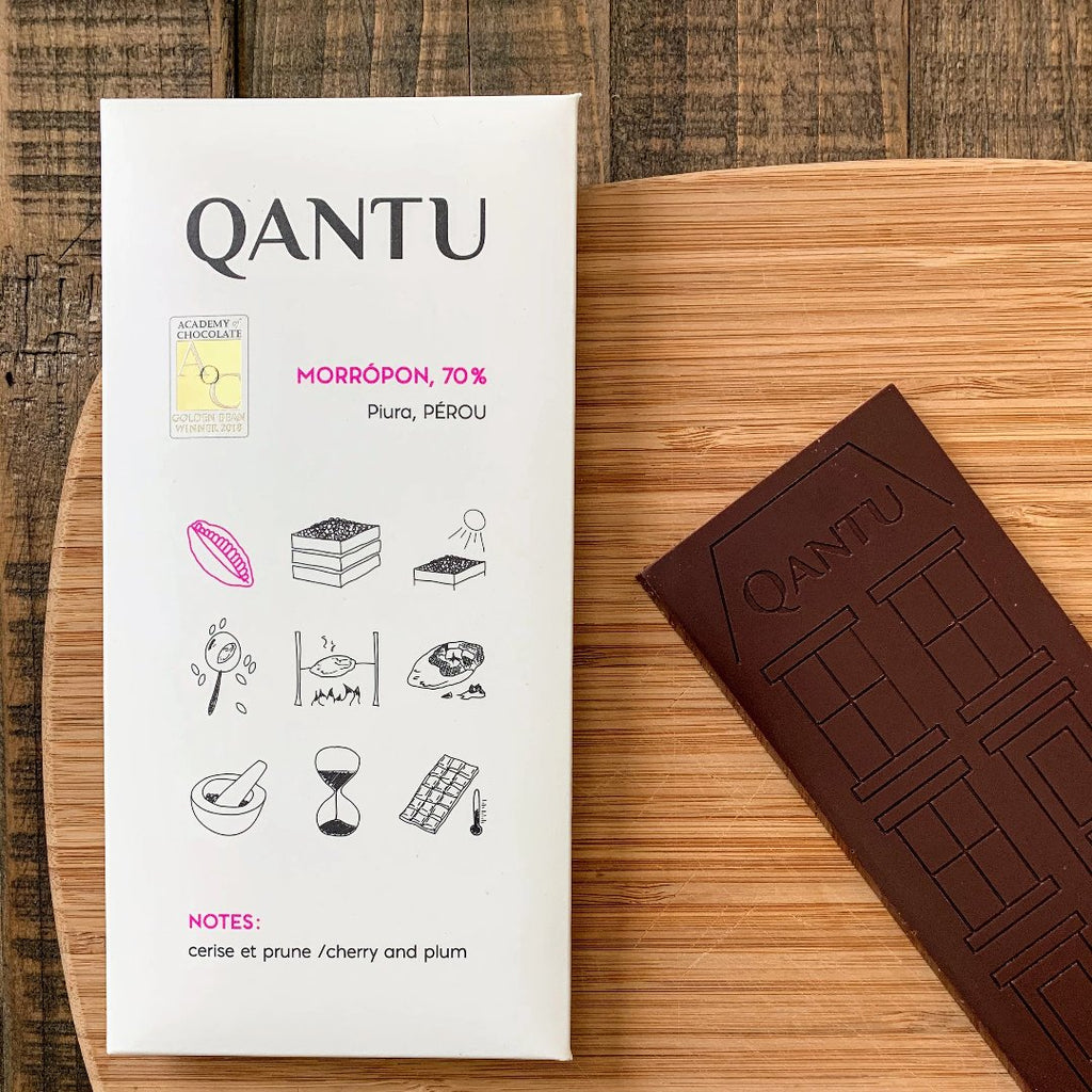 Qantu Morropon Craft Chocolate Bar with its packaging
