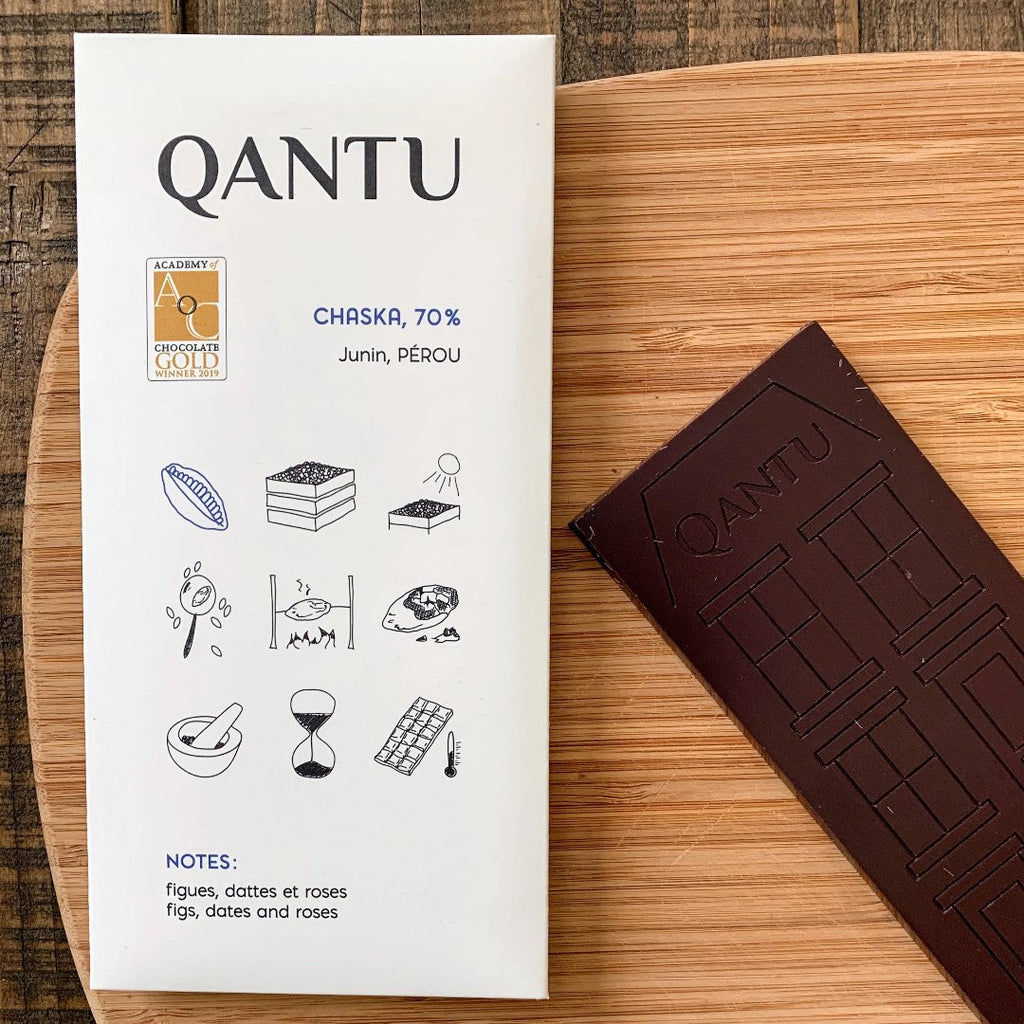 Qantu Chaska Craft Chocolate Bar with its packaging