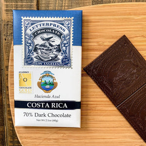 LetterPress Costa Rica Craft Chocolate Bar with its packaging